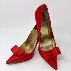 ❤️HP❤️ Kate Spade Red Satin Stiletto Heel with Bow